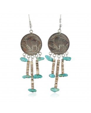 Vintage Style OLD Buffalo Coin Certified Authentic Navajo .925 Sterling Silver Turquoise Native American Earrings 390686994065