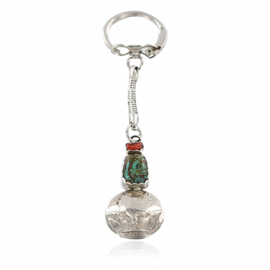 Vintage Style OLD Buffalo Coin Certified Authentic Navajo .925 Sterling Silver Turquoise Native American Keychain 371040498191 All Products 371040498191 371040498191 (by LomaSiiva)