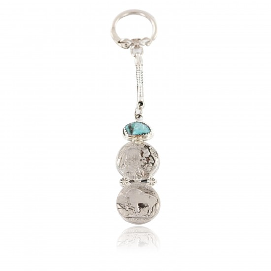 Vintage Style OLD Buffalo Coin Certified Authentic Navajo .925 Sterling Silver Turquoise Native American Keychain 390828729775 All Products 390828729775 390828729775 (by LomaSiiva)