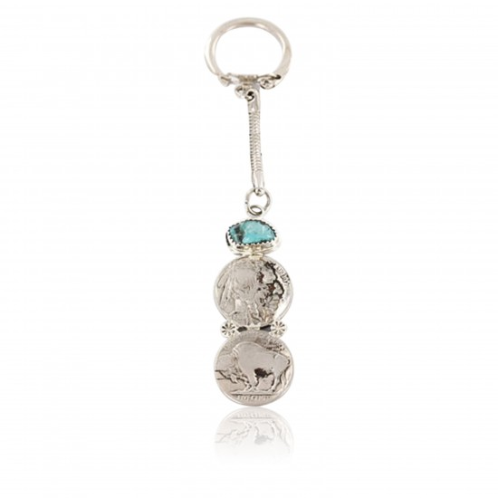 Vintage Style OLD Buffalo Coin Certified Authentic Navajo .925 Sterling Silver Turquoise Native American Keychain 390834891319 All Products 390834891319 390834891319 (by LomaSiiva)