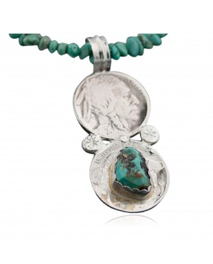 Vintage Style OLD Buffalo Coin Certified Authentic Navajo .925 Sterling Silver Turquoise Native American Necklace 370875966429