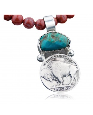 Vintage Style OLD Buffalo Coin Certified Authentic Navajo .925 Sterling Silver Turquoise Native American Necklace 370882039782
