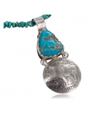 Vintage Style OLD Buffalo Coin Certified Authentic Navajo .925 Sterling Silver Turquoise Native American Necklace 370888286935