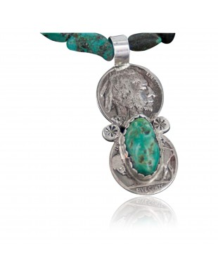 Vintage Style OLD Buffalo Coin Certified Authentic Navajo .925 Sterling Silver Turquoise Native American Necklace 370892537898