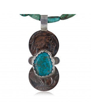 Vintage Style OLD Buffalo Coin Certified Authentic Navajo .925 Sterling Silver Turquoise Native American Necklace 370893877162