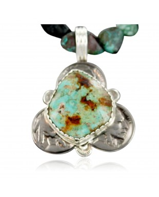 Vintage Style OLD Buffalo Coin Certified Authentic Navajo .925 Sterling Silver Turquoise Native American Necklace 370901122818