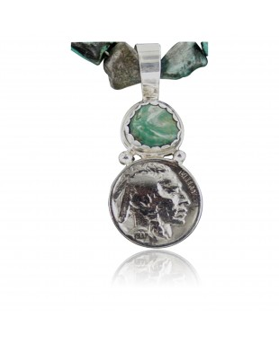 Vintage Style OLD Buffalo Coin Certified Authentic Navajo .925 Sterling Silver Turquoise Native American Necklace 370902693169