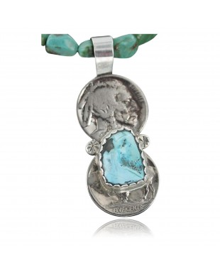 Vintage Style OLD Buffalo Coin Certified Authentic Navajo .925 Sterling Silver Turquoise Native American Necklace 370906002070