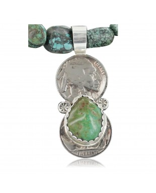 Vintage Style OLD Buffalo Coin Certified Authentic Navajo .925 Sterling Silver Turquoise Native American Necklace 370909953751
