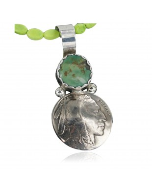 Vintage Style OLD Buffalo Coin Certified Authentic Navajo .925 Sterling Silver Turquoise Native American Necklace 370917042141