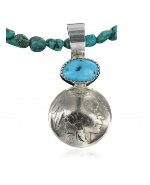 Vintage Style OLD Buffalo Coin Certified Authentic Navajo .925 Sterling Silver Turquoise Native American Necklace 370922458208