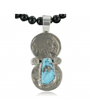 Vintage Style OLD Buffalo Coin Certified Authentic Navajo .925 Sterling Silver Turquoise Native American Necklace 370925594092