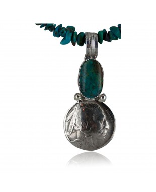 Vintage Style OLD Buffalo Coin Certified Authentic Navajo .925 Sterling Silver Turquoise Native American Necklace 370990260810