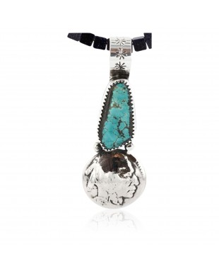 Vintage Style OLD Buffalo Coin Certified Authentic Navajo .925 Sterling Silver Turquoise Native American Necklace 371011509730