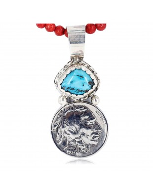 Vintage Style OLD Buffalo Coin Certified Authentic Navajo .925 Sterling Silver Turquoise Native American Necklace 371041129239