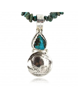 Vintage Style OLD Buffalo Coin Certified Authentic Navajo .925 Sterling Silver Turquoise Native American Necklace 371048883802