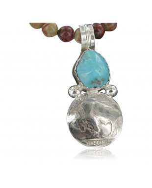 Vintage Style OLD Buffalo Coin Certified Authentic Navajo .925 Sterling Silver Turquoise Native American Necklace 390659624270