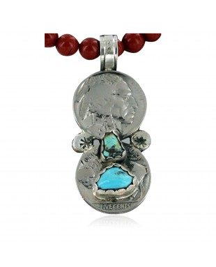Vintage Style OLD Buffalo Coin Certified Authentic Navajo .925 Sterling Silver Turquoise Native American Necklace 390662478475