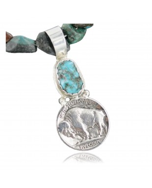 Vintage Style OLD Buffalo Coin Certified Authentic Navajo .925 Sterling Silver Turquoise Native American Necklace 390665988592