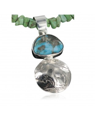 Vintage Style OLD Buffalo Coin Certified Authentic Navajo .925 Sterling Silver Turquoise Native American Necklace 390677357210