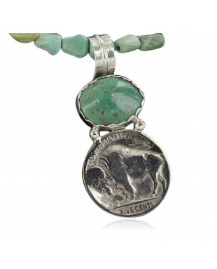 Vintage Style OLD Buffalo Coin Certified Authentic Navajo .925 Sterling Silver Turquoise Native American Necklace 390678083188