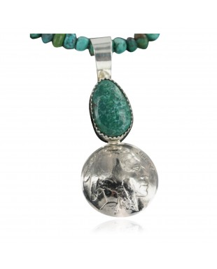 Vintage Style OLD Buffalo Coin Certified Authentic Navajo .925 Sterling Silver Turquoise Native American Necklace 390681930351