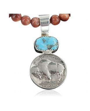 Vintage Style OLD Buffalo Coin Certified Authentic Navajo .925 Sterling Silver Turquoise Native American Necklace 390682426338