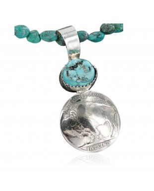 Vintage Style OLD Buffalo Coin Certified Authentic Navajo .925 Sterling Silver Turquoise Native American Necklace 390682444404