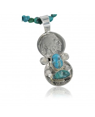 Vintage Style OLD Buffalo Coin Certified Authentic Navajo .925 Sterling Silver Turquoise Native American Necklace 390683666731