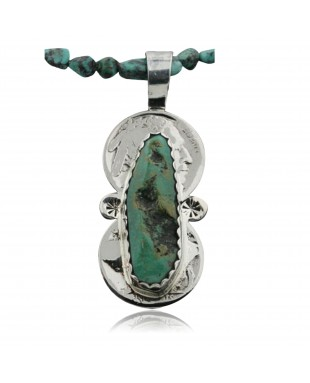Vintage Style OLD Buffalo Coin Certified Authentic Navajo .925 Sterling Silver Turquoise Native American Necklace 390731829523