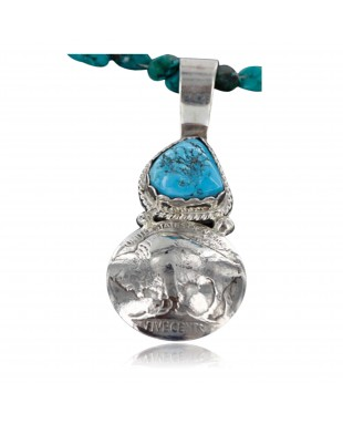 Vintage Style OLD Buffalo Coin Certified Authentic Navajo .925 Sterling Silver Turquoise Native American Necklace 390747263087