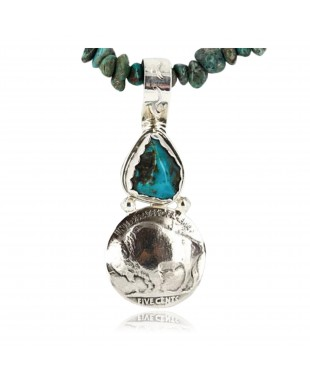 Vintage Style OLD Buffalo Coin Certified Authentic Navajo .925 Sterling Silver Turquoise Native American Necklace 390747398141