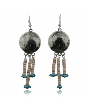 Vintage Style OLD Buffalo Coin Certified Authentic Navajo .925 Sterling Silver Turquoise Spiny Native American Earrings 390735954683