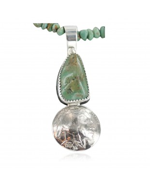 Vintage Style OLD Buffalo Nickel Certified Authentic Navajo .925 Sterling Silver Turquoise 0535 Native American Necklace 370927935045