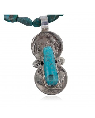 Vintage Style OLD Buffalo Nickel Certified Authentic Navajo .925 Sterling Silver Turquoise Native American Necklace 370890066559
