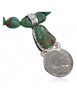 Vintage Style OLD Buffalo Nickel Certified Authentic Navajo .925 Sterling Silver Turquoise Native American Necklace 370890665979
