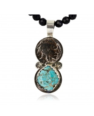 Vintage Style OLD Buffalo Nickel Certified Authentic Navajo .925 Sterling Silver Turquoise Native American Necklace 390743747101