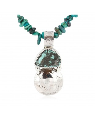 Vintage Style OLD Buffalo Nickel Certified Authentic Navajo .925 Sterling Silver Turquoise Native American Necklace 390832582382