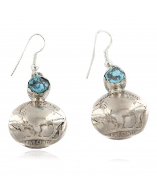 Vintage Style OLD Buffalo Nickel Coin Certified Authentic Navajo .925 Sterling Silver Natural Turquoise Dangle Earrings 18144