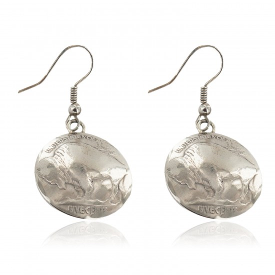 Vintage Style OLD Certified Authentic Buffalo Nickel Coin Certified Authentic Navajo .925 Sterling Silver Native American Earrings 18179 All Products NB160208183345 18179 (by LomaSiiva)