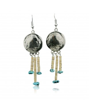 Vintage Style OLD INDIAN HEAD Certified Authentic Navajo .925 Sterling Silver Spiny Oyster and Turquoise Native American Earrings 390735134331