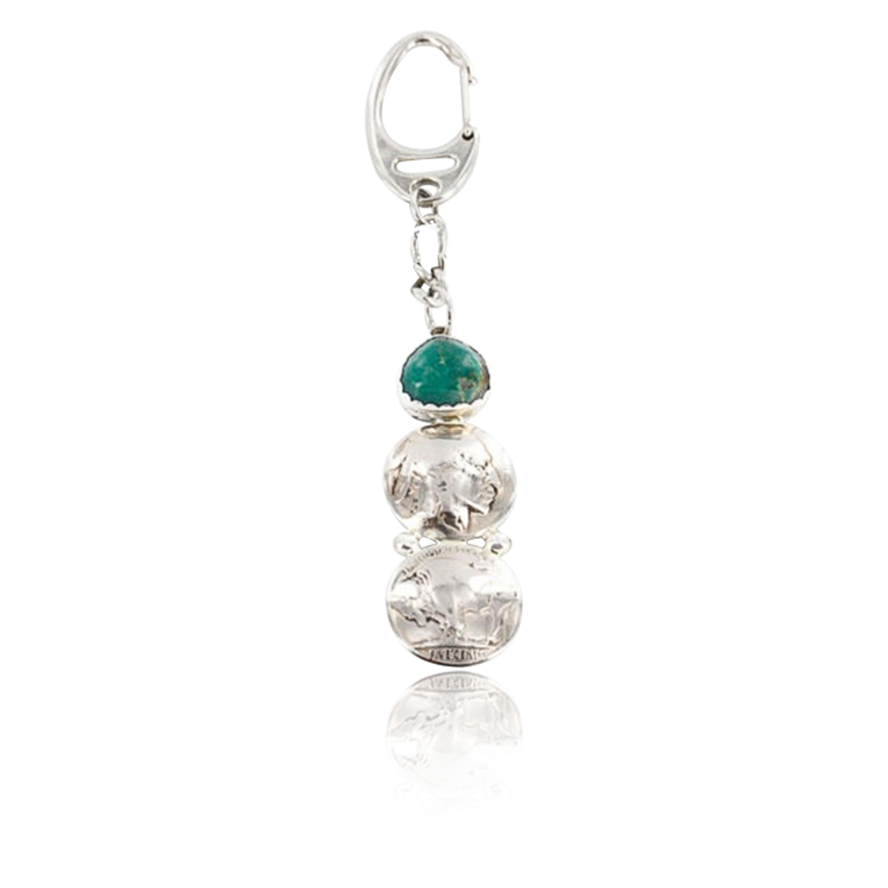 Vintage Style OLD Indian Head Certified Authentic Navajo .925 Sterling Silver Turquoise Native American Keychain 371051900789 All Products 371051900789 371051900789 (by LomaSiiva)
