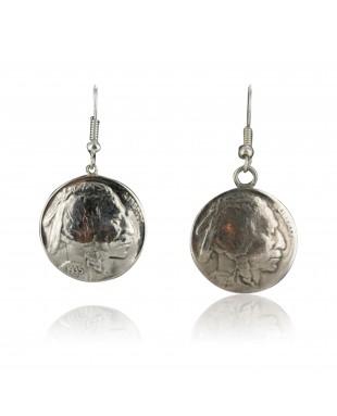 Vintage Style OLD Indian HeadCertified Authentic Navajo .925 Sterling Silver Hooks Native American Earrings 390688974751