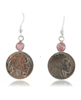 Vintage Style OLD INDIAN HEADCertified Authentic Navajo .925 Sterling Silver Pink Agate Native American Earrings 370925394877