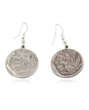 Vintage Style OLD Rusted Buffalo Nickel Coin Certified Authentic Navajo .925 Sterling Silver Dangle Earrings 27206