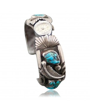 Vintage Style Toadlena Old Pawn Navajo Sterling Turquoise Heavy Native American Watch 251087128694