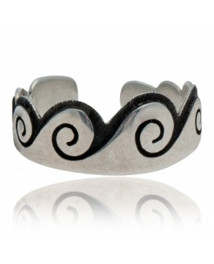 Water Wave .925 Sterling Silver Certified Authentic Hopi Native American Handmade Toe Ring 13234-2