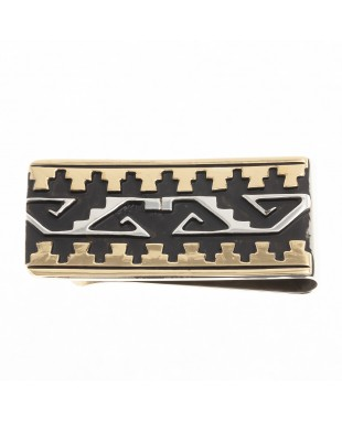 Water Wave Cloud 12kt Gold Filled .925 Sterling Silver Certified Authentic Handmade Navajo Native American Money Clip 24536-3