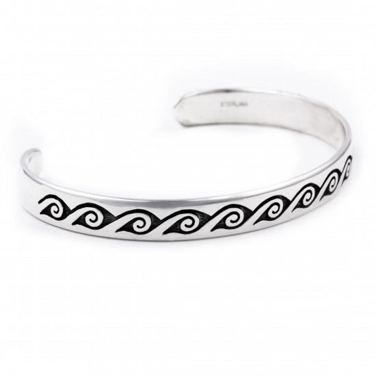 Waves Water .925 Sterling Silver Certified Authentic Handmade Traditional Hopi Native American Bracelet 13219 All Products NB180518191738 13219 (by LomaSiiva)