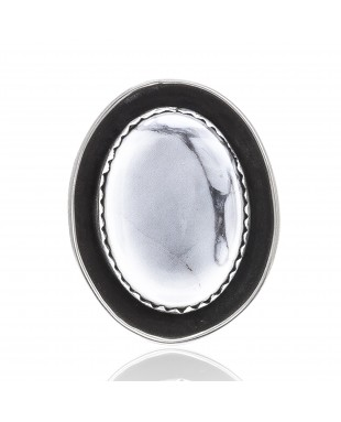 White Howlite .925 Sterling Silver Certified Authentic Navajo Native American Handmade Concho Button 24559